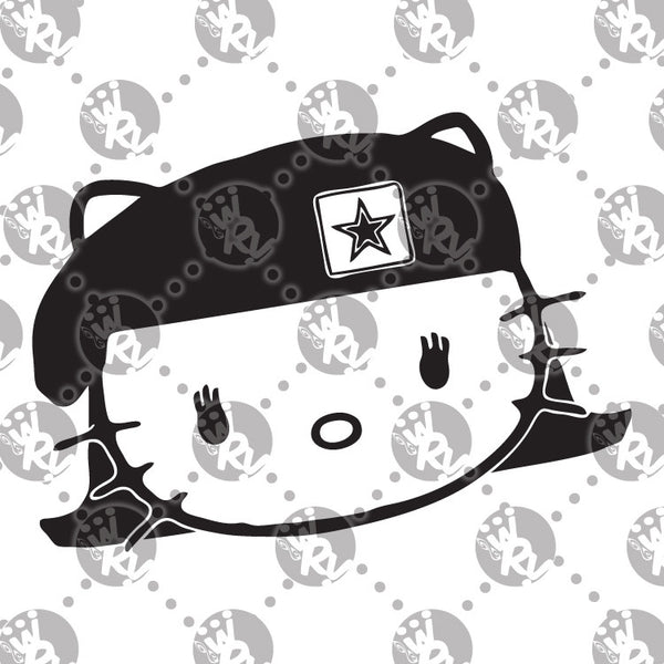 Army Hello Kitty Female Soldier Decal