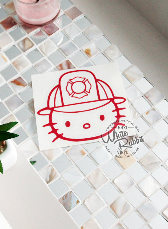 Hello Kitty Firefighter Decal
