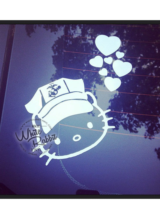 USMC Hello Kitty Marine Male 8 Point Cover Decal