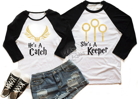 She's A Keeper, He's A Catch Customizable Couple Baseball Tees