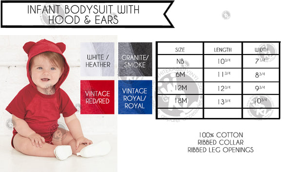 Hug Dealer Infant Bodysuit With Hoodie and Ears