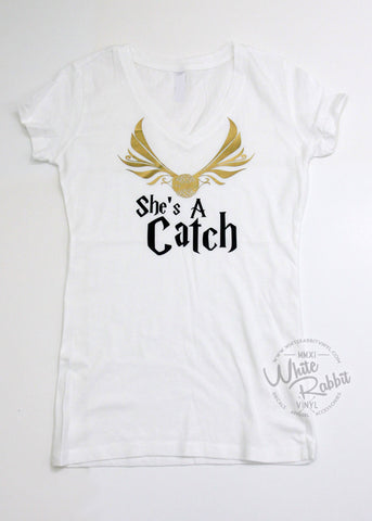 RTS_She's A Catch Women's V-Neck Tee