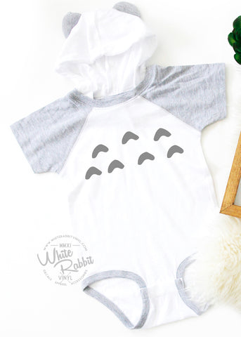 Totoro Inspired Infant Bodysuit With Hoodie and Ears
