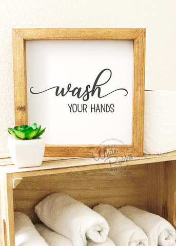 Wash Your Hands Rustic Wood Sign