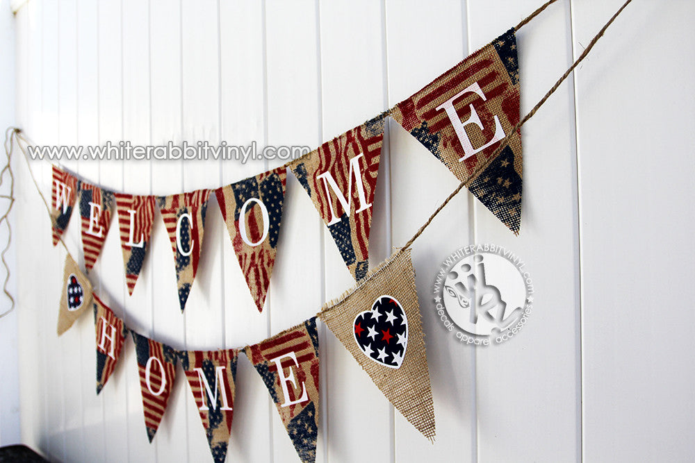 Welcome Home Burlap Banner