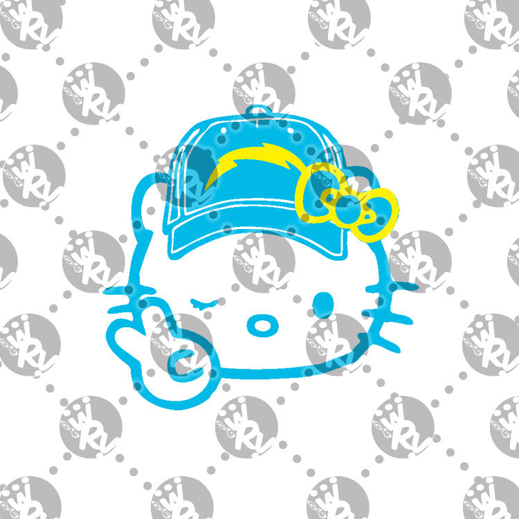 Winking Hello Kitty with Baseball Cap Decal [Different Styles Available]