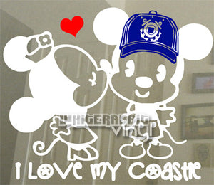 MnM Mouse Kiss - Coastie Decal