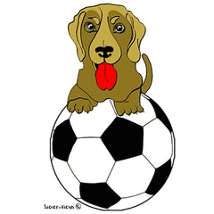 Brown Pup with Soccer Ball by Soccer-Views and Karen Little