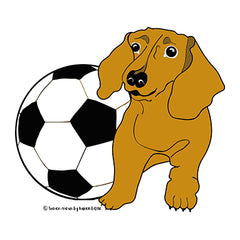 Wiener Dog and Soccer Ball by Soccer-Views and Karen Little