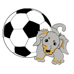 Gray Pup with Soccer Ball by Karen Little on Soccer-Views
