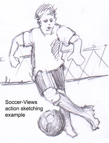 Example of a quickly drawn action sketch on Soccer Sketching on Soccer-views
