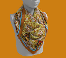 Load image into Gallery viewer, Butterflies on Each Corner of Flower-filled Square Scarf
