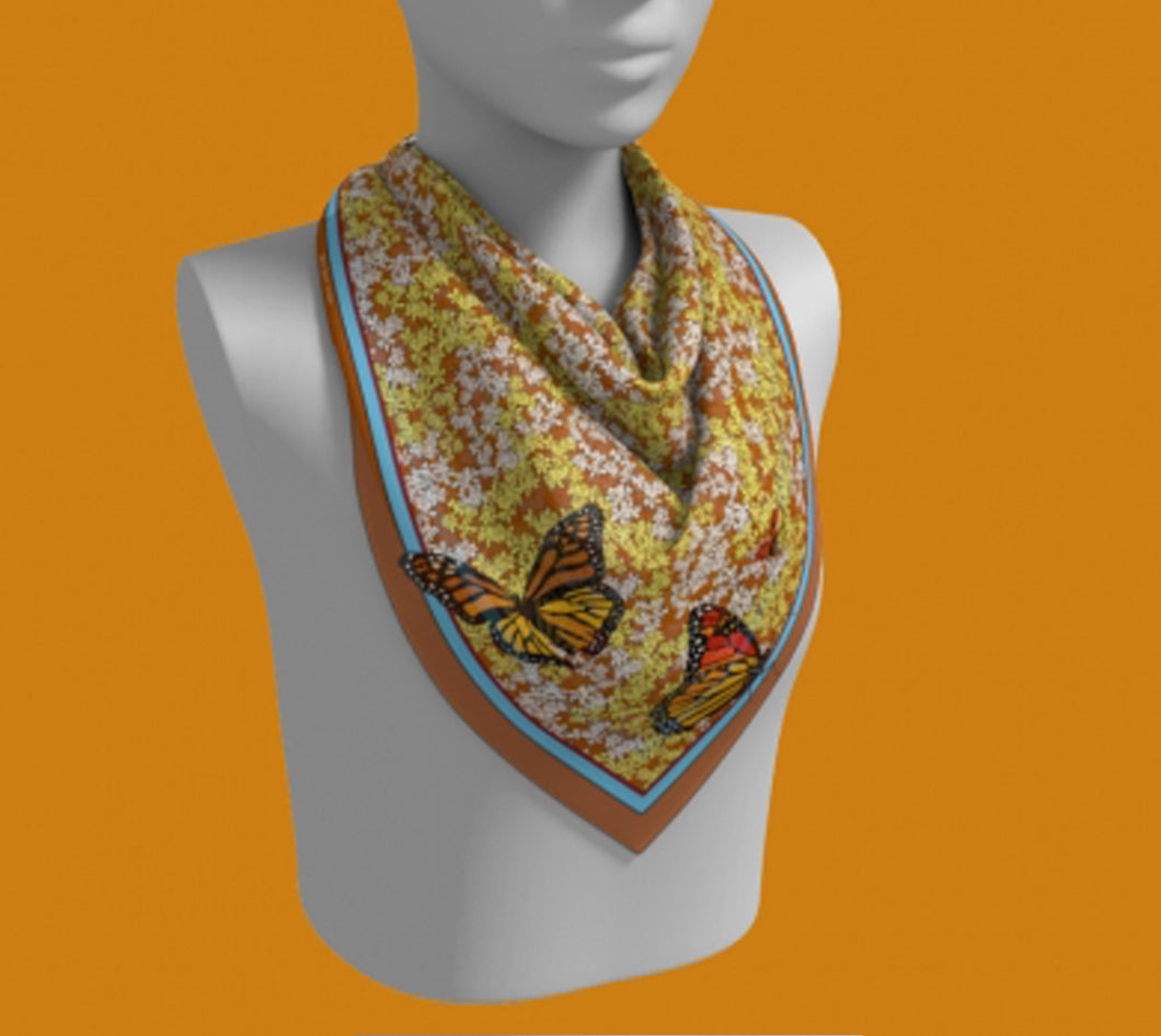 Butterflies on Each Corner of Flower-filled Square Scarf