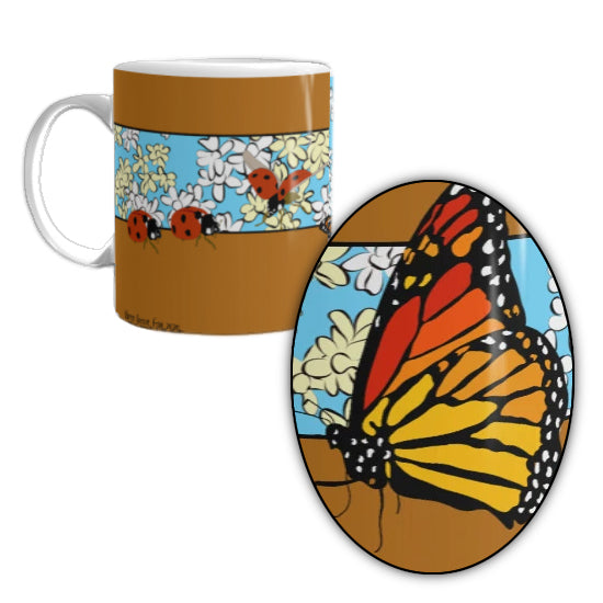 Butterflies, Lady Bugs, and Flowers Mug