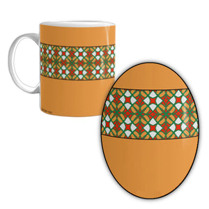 Orange Mug with  Gold, Orange, and White Patterns