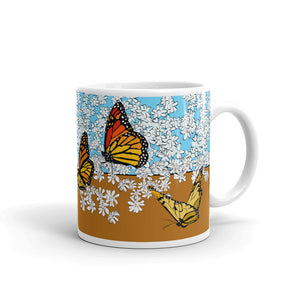 White garden and Butterfly mug