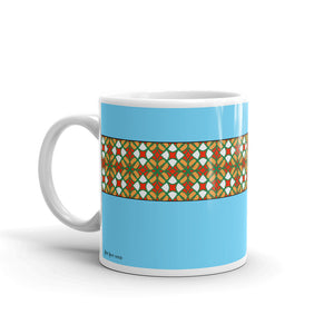 Blue Mug with Gold, Orange, and White Patterns
