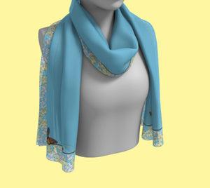 Butterflies, Flowers and Blue Sky Rectangular Scarf