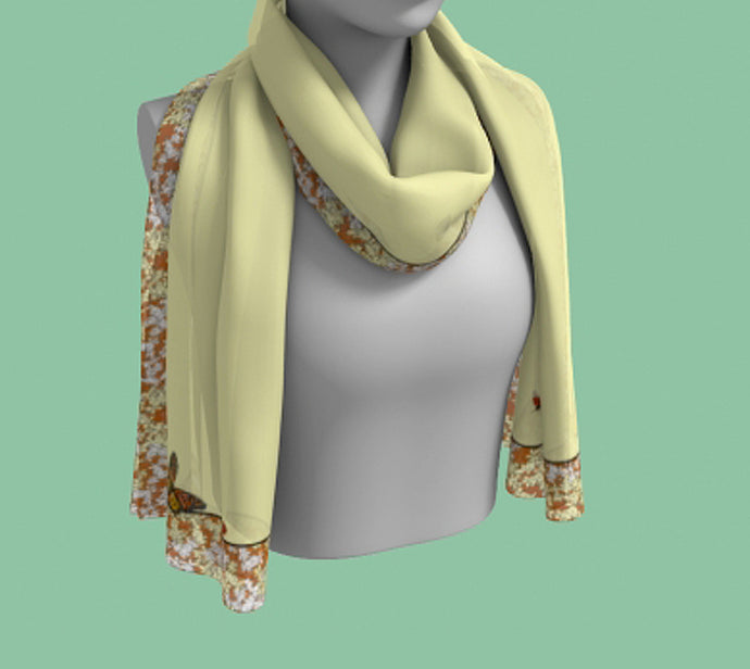 Butterflies, Lady Bugs, Flowers on a Cream Background Rectangular Scarf