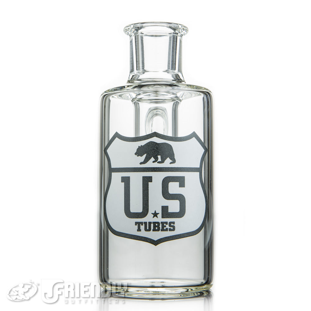 US Tubes 14mm 90 Degree Dry Catcher w/Black and White Label