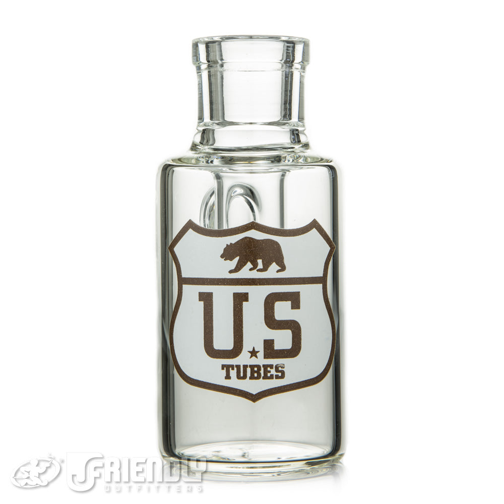 US Tubes 18mm 45 Degree Dry Catcher w/Brown and White Label