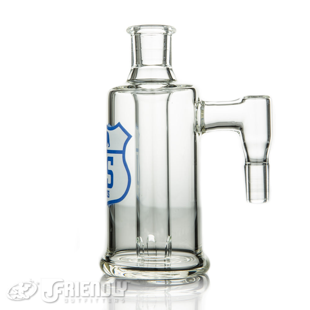 US Tubes 14mm 90 Degree Ash Catcher w/Blue and White Logo
