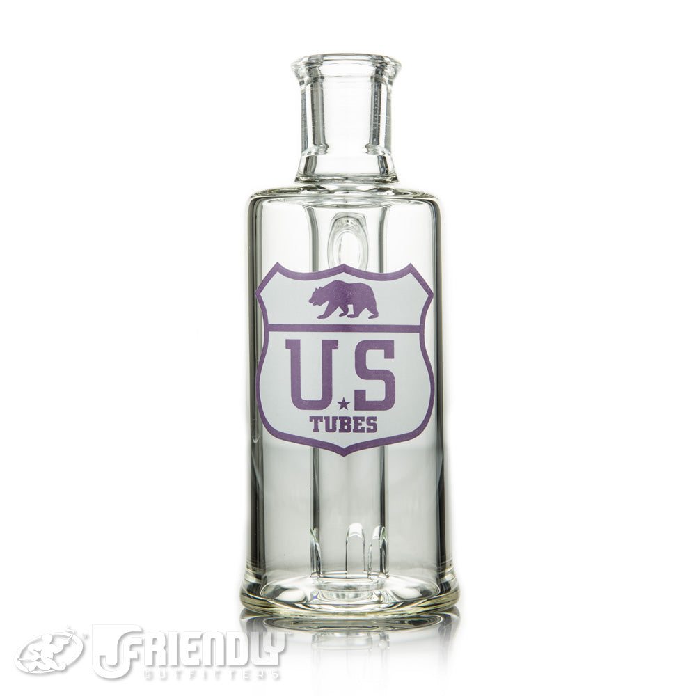 US Tubes 14mm 90 Degree Ash Catcher w/Purple and White Logo