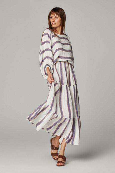 Maxi Tier Skirt Roma Stripe