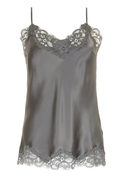 Floral Lace Silk Cami Steeple Grey