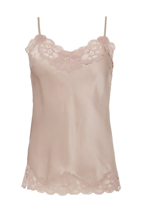 Floral Lace Silk Cami Sand Shell