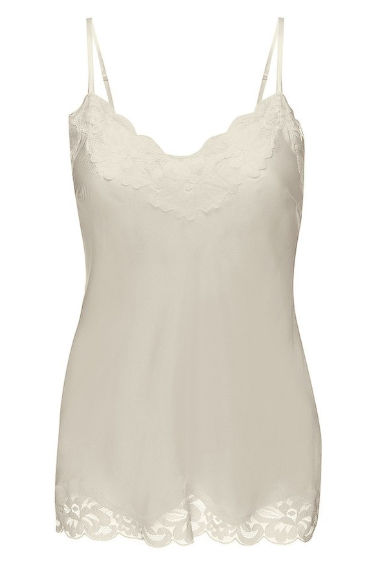 Floral Lace Silk Cami Off White