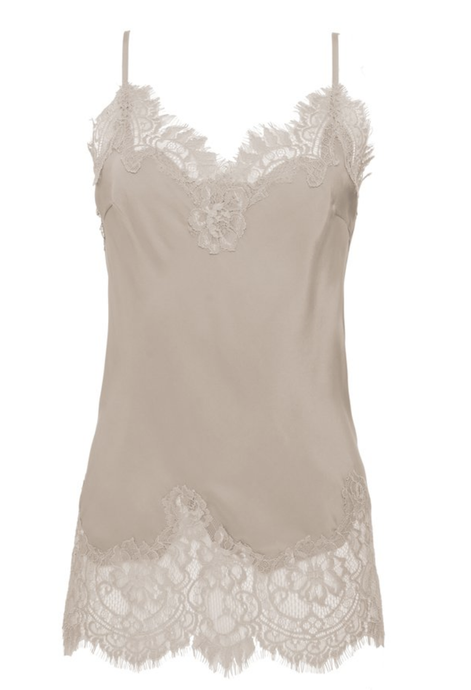 Coco Lace Silk Cami Nude Crystal Sand