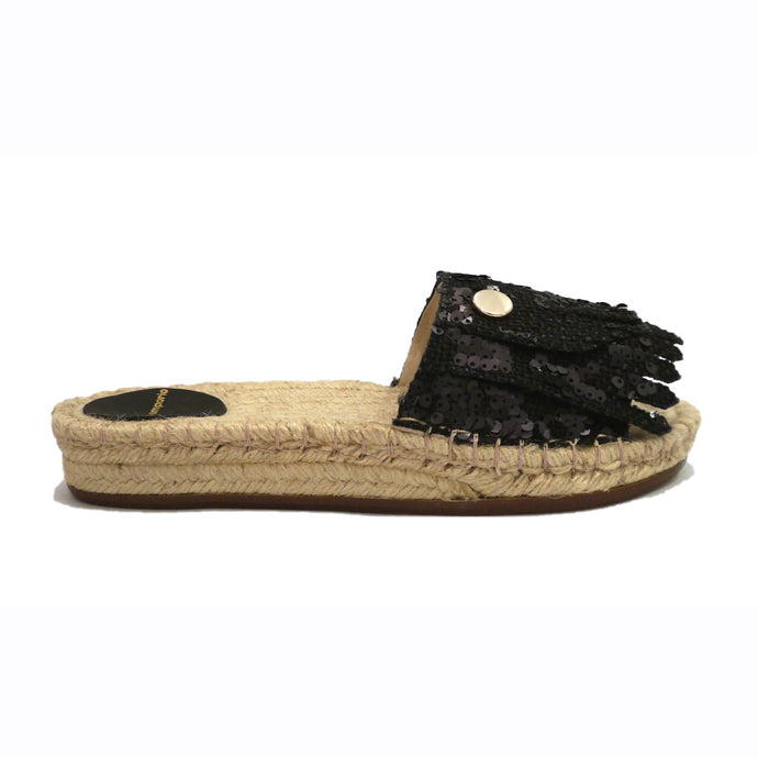 Spangle Espadrille Slide Black