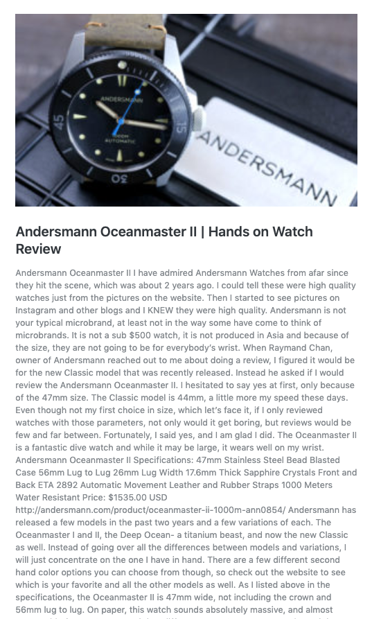 THANK YOU MR DON EVANS OF WATCHREPORT FOR REVIEWING OCEANMASTER II