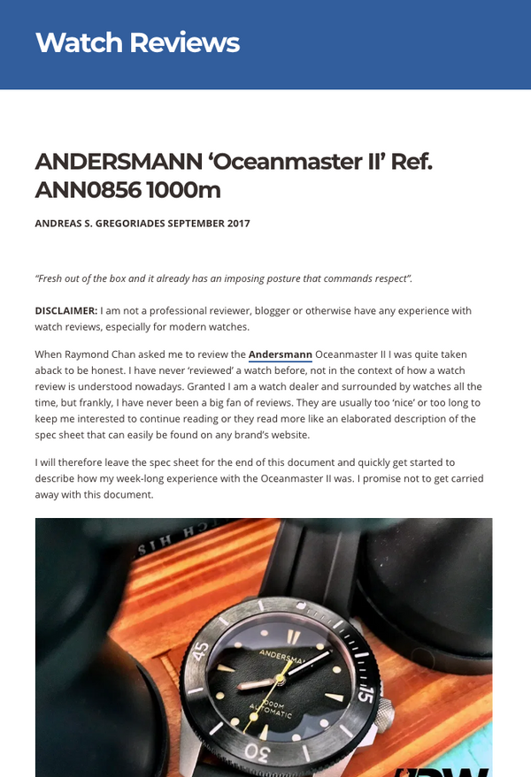 THANK YOU ANDREAS OF DIVER'S WATCHES GROUP REVIEWING ANDERSMANN OCEANMASTER II ANN0856