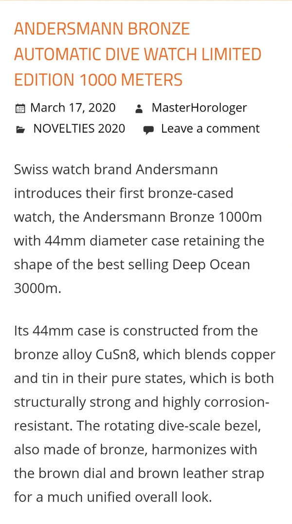 Thank you masterhorologer.com introduced Andersmann Bronze 1000m