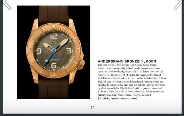 "Thank you Oracle Time UK - May 2020 issue includes Andersmann Bronze 1000m in ""The Ultimate Microbrand Guide""."