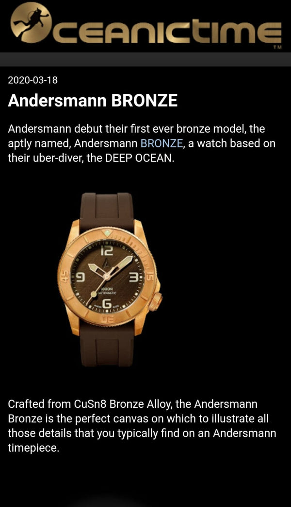 Thank you OceanicTime introducing Andersmann Bronze 1000m