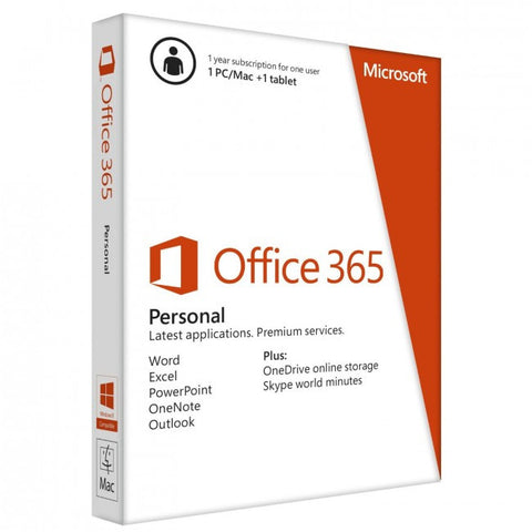 Microsoft Office 365 Personal English 1 Year Subscription Medialess
