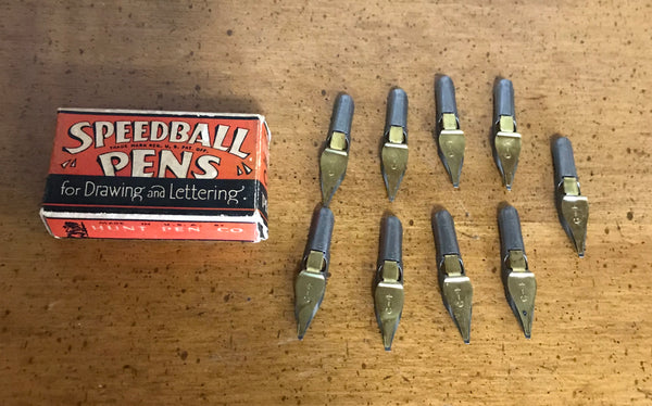 Vintage Speedball Pen Nibs - Lot Of 9 C-4