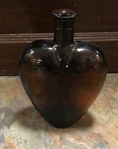 Vintage Heart Shaped Paul Masson Amber Decorative Bottle