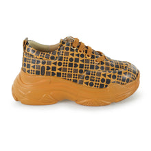 Load image into Gallery viewer, Classic Print Yellow Leather Sneaker