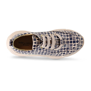 Classic Print Lavender Leather Sneaker