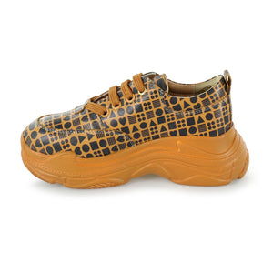 Classic Print Yellow Leather Sneaker