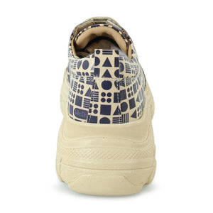 Classic Print Beige Leather Sneaker
