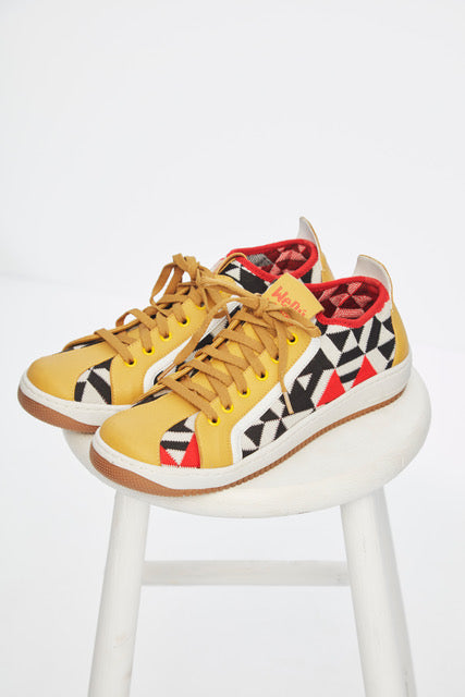Shameless Print Yellow Sneaker