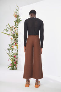 Embroidered Brown Trouser