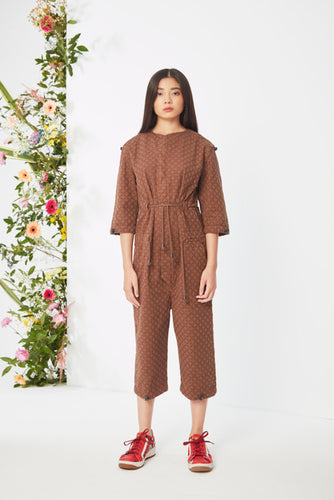 Embroidered Brown  Jumpsuit