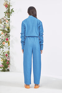 Embroidered Blue  Jumpsuit