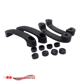DATSUN NISSAN 1600 - 510 - 520 - 521 INTERIOR DOOR PULL HANDLES BLACK WITH PLUGS SEDAN FULL SET X 4